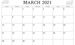 March Printable Calendar 2021 Excel