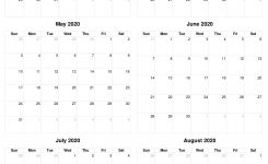 March To August 2020 Calendar, Free Printable Pdf