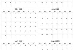 March To August 2020 Calendar
