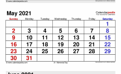 May 2021 – Calendar Templates For Word, Excel And Pdf