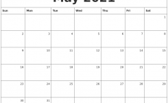 May 2021 Monthly Calendar