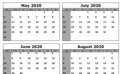 May-June-July-August-2020-Calendar-To-Print – All 12 Month