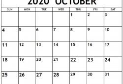 May June July August September October 2020 Calendar