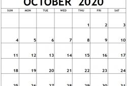May June July August September October 2020 Blank Calendar