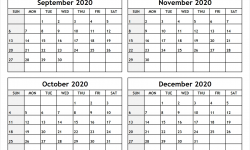 2020 Calendar September October And November