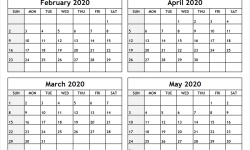 Printable March April May 2020 Calendar