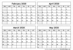 Calendar March April May 2020