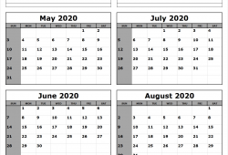 3 Month Calendar 2020 May June July