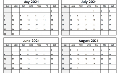 Printable Blank Four Month May June July August 2021
