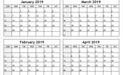 Printable Four Months Per Page 2020 Calendar | Example