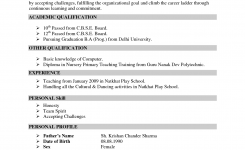 Resume For Teachers In Indian Format – Google Search