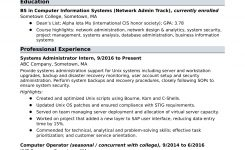 Sample Resume For An Entry-Level Systems Administrator