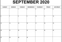 June To September Calendar 2020