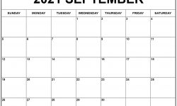 September 2021 Monthly Calendar Template