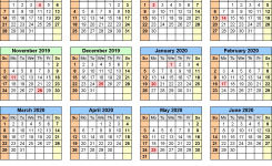 Split Year Calendars 2019/2020 (July To June) – Excel Templates