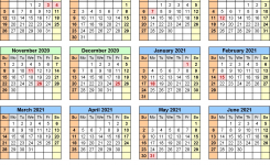 Split Year Calendars 2020/2021 (July To June) – Word Templates
