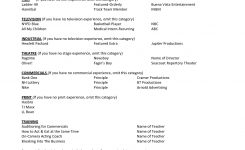 Theater Resume Template Examples Acting No Experience Film