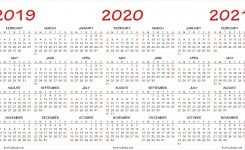 Three Yearly Calendar 2019 2020 2021 Printable Free