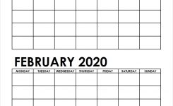 Two Month January February 2020 Calendar Blank