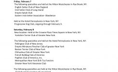 Westminster Week Calendar 2014 Dog Shows Pages 1 – 5 – Text