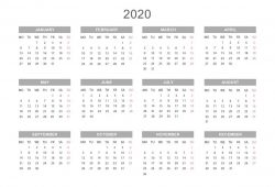 Yearly Calendar 2020 Printable Free For Agenda