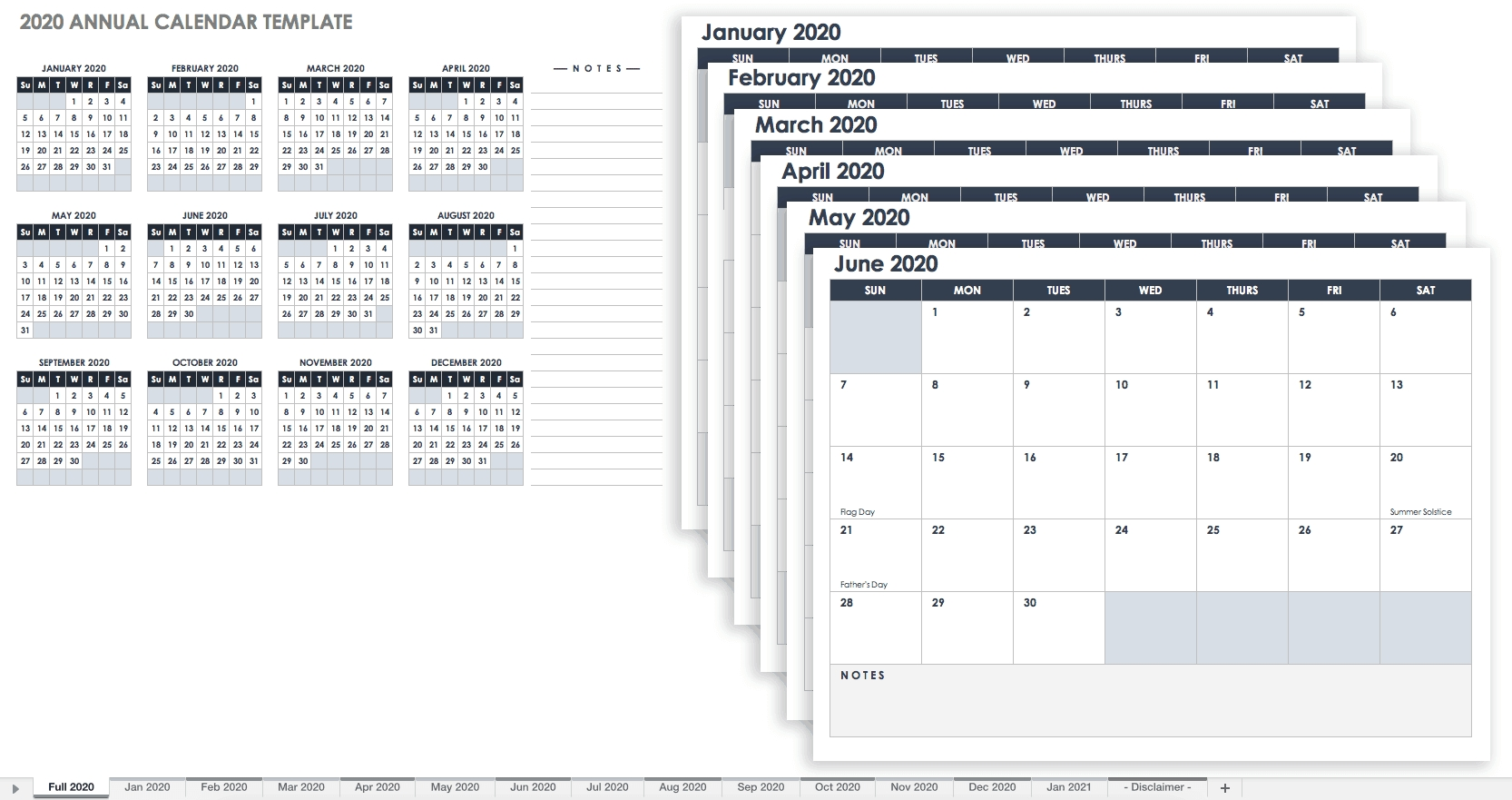 Printable Monthly Planner Template 12 Months