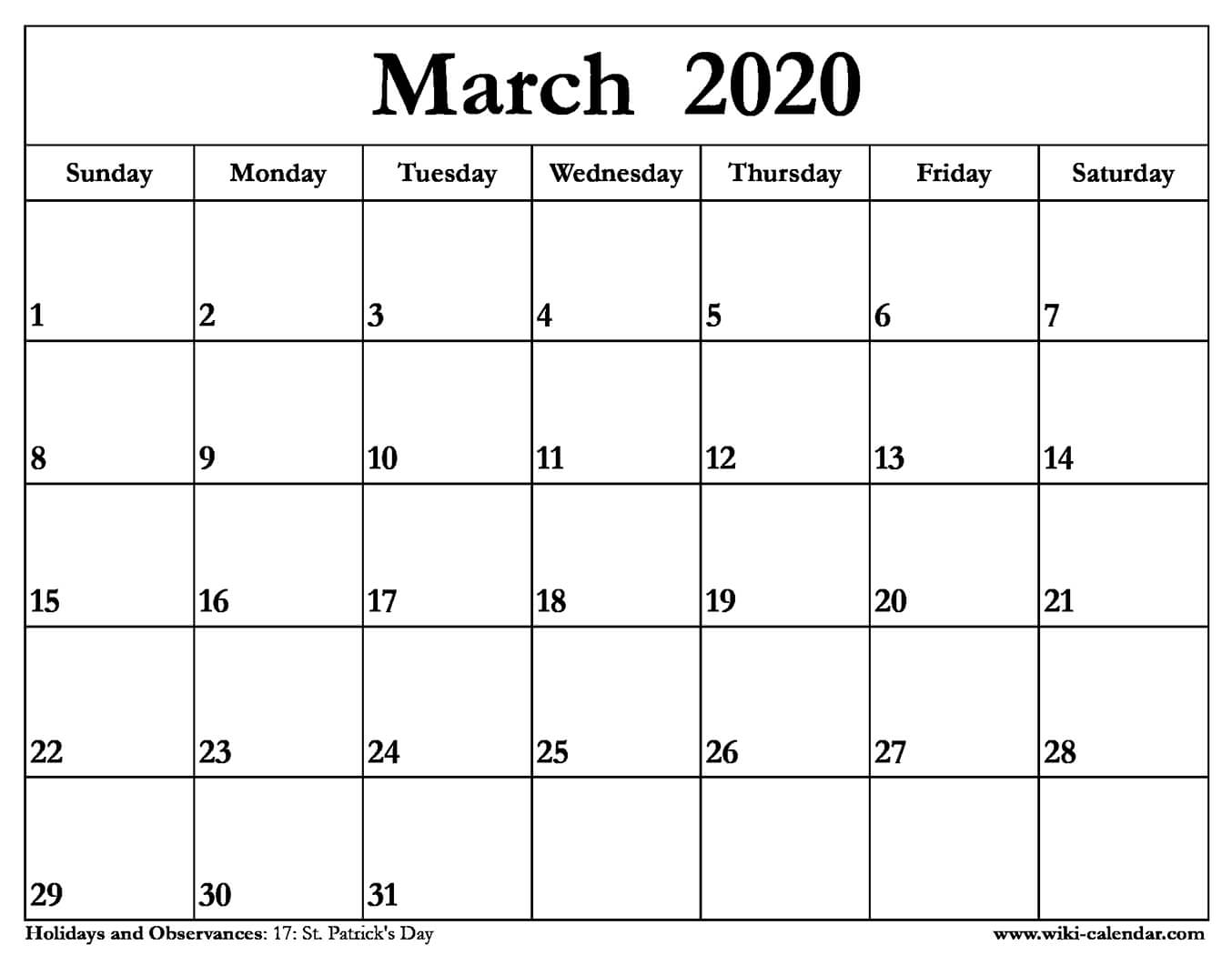 Student Calendar March 2020 Printable Free