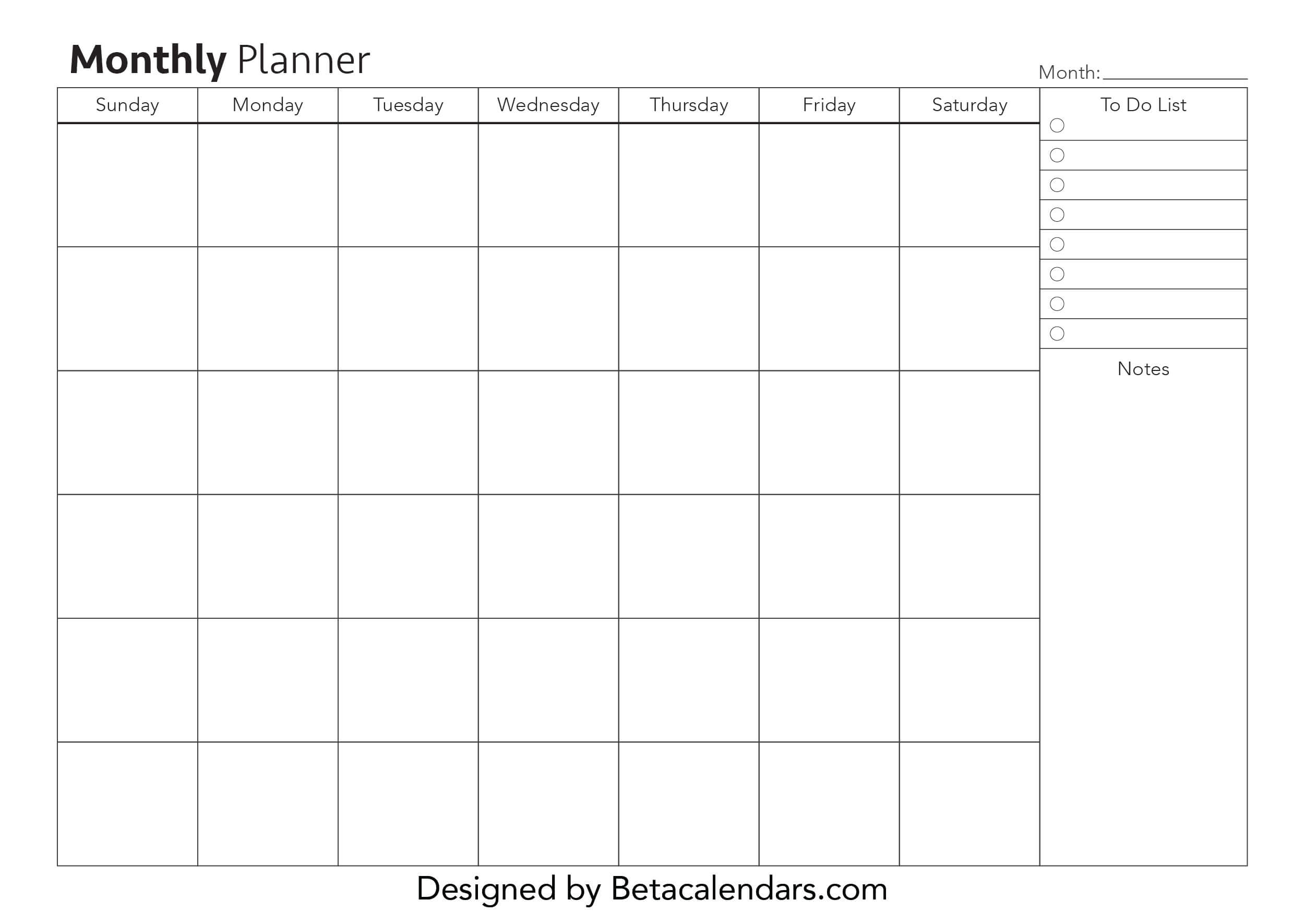 Free Printable Monthly Planners