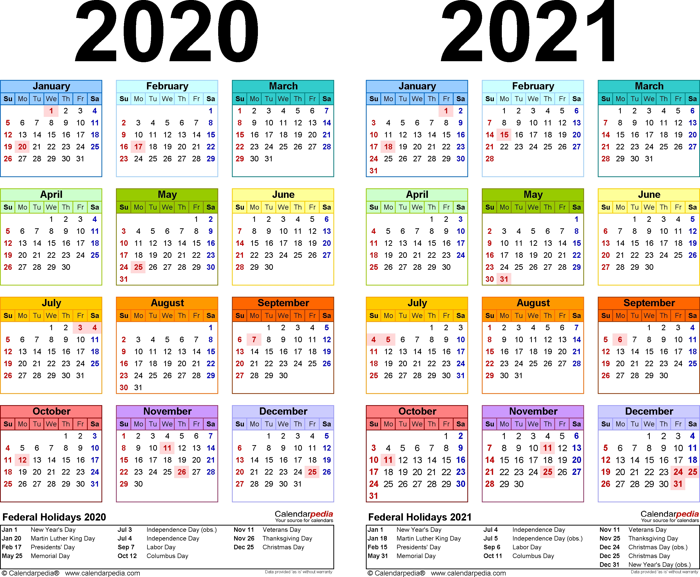 2020-2021 Two Year Calendar – Free Printable Excel Templates