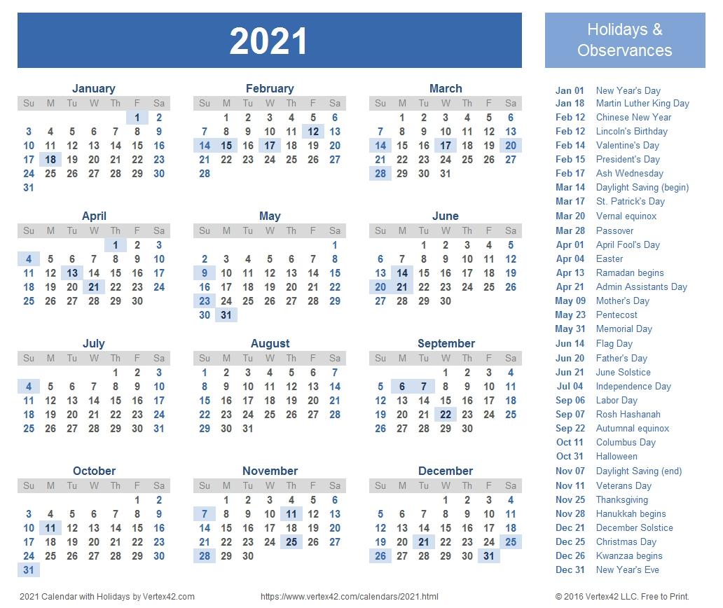 Free Printable 2021 Calendars With Note