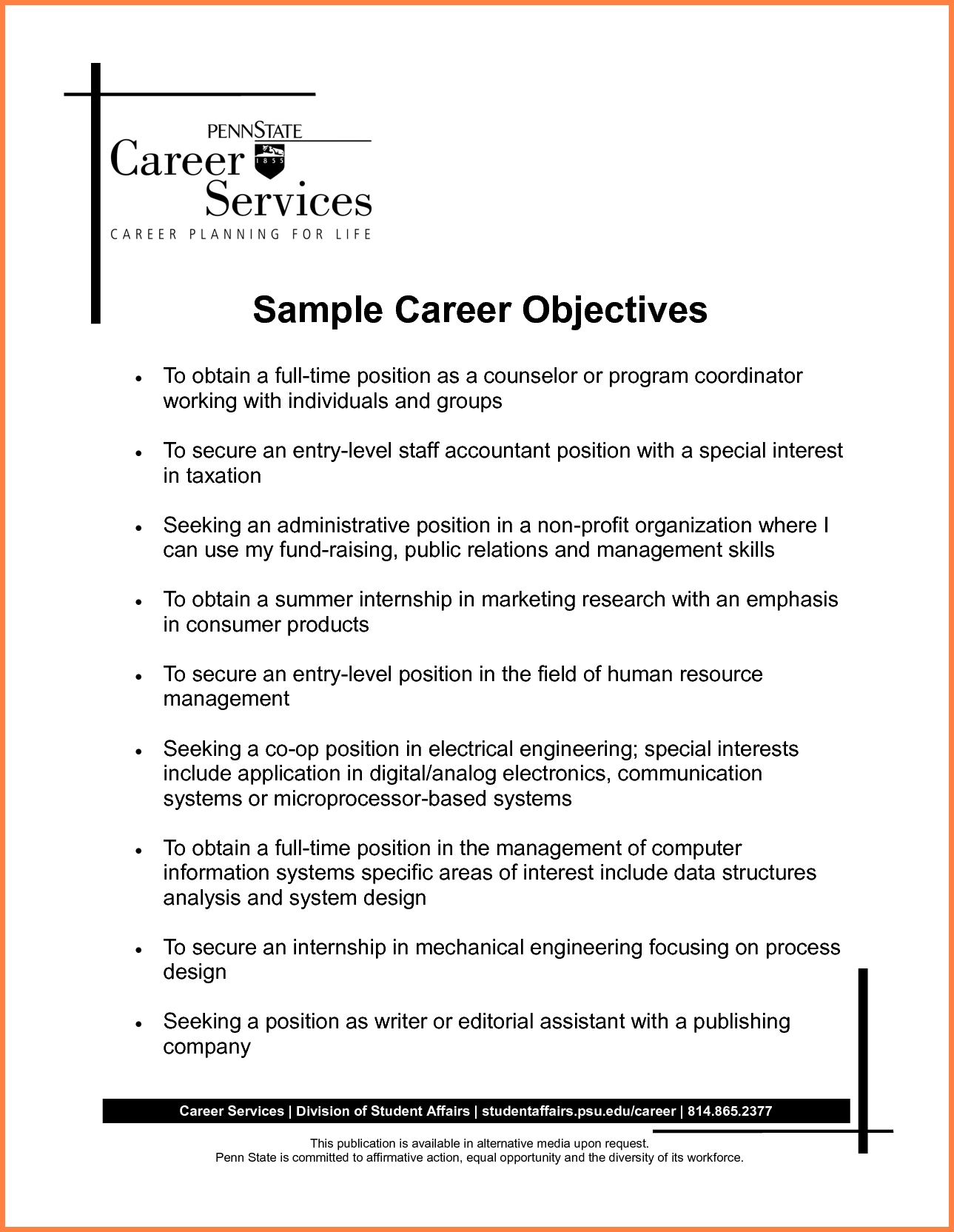 7+ Jobs Objective Examples | Leave Latter
