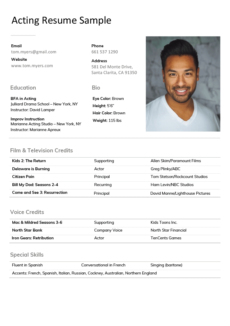 Sample Of Acting Resume Template