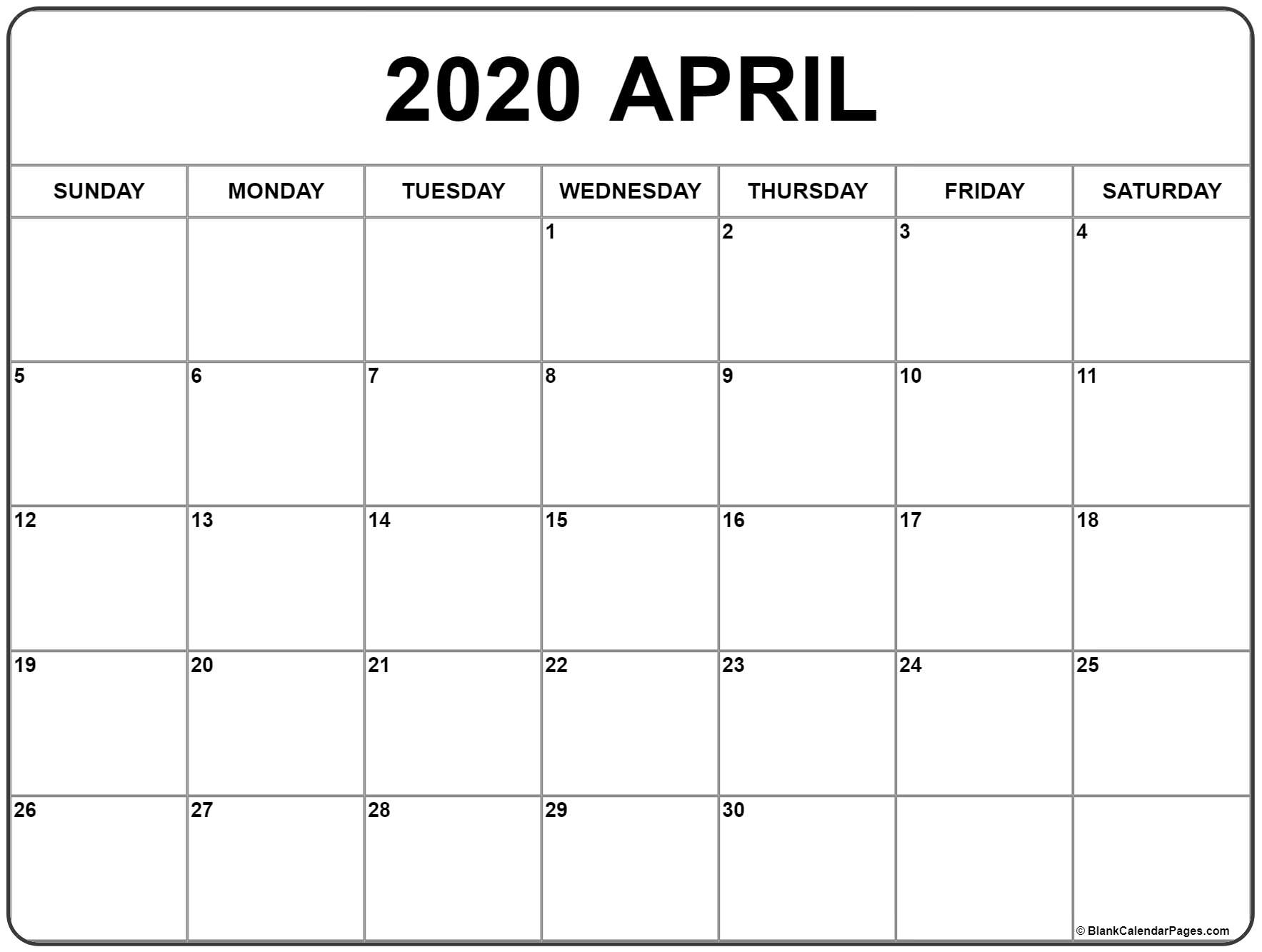 April 2020 Calendar Space Note