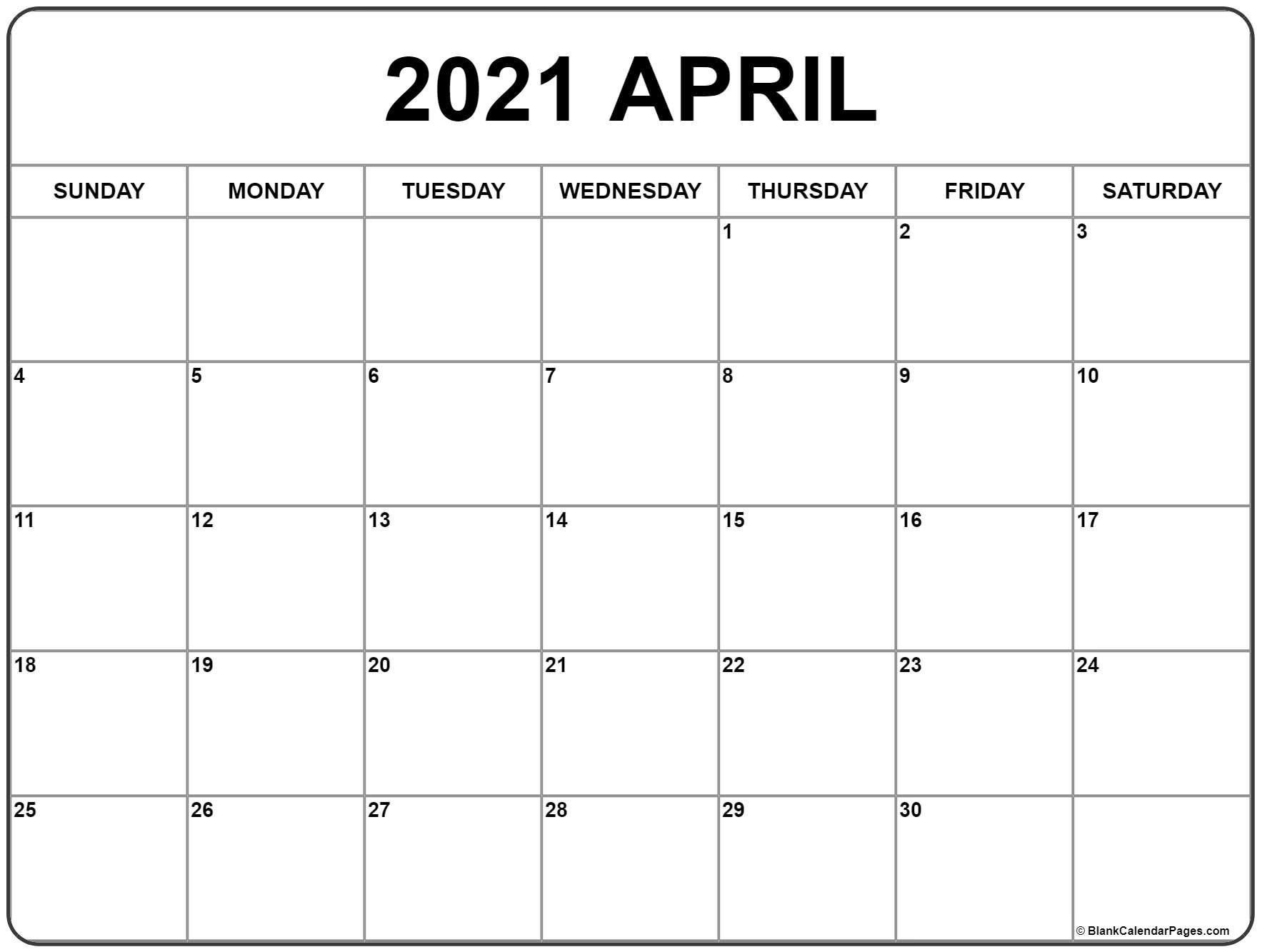 April 2021 Calendar Holidays Printable