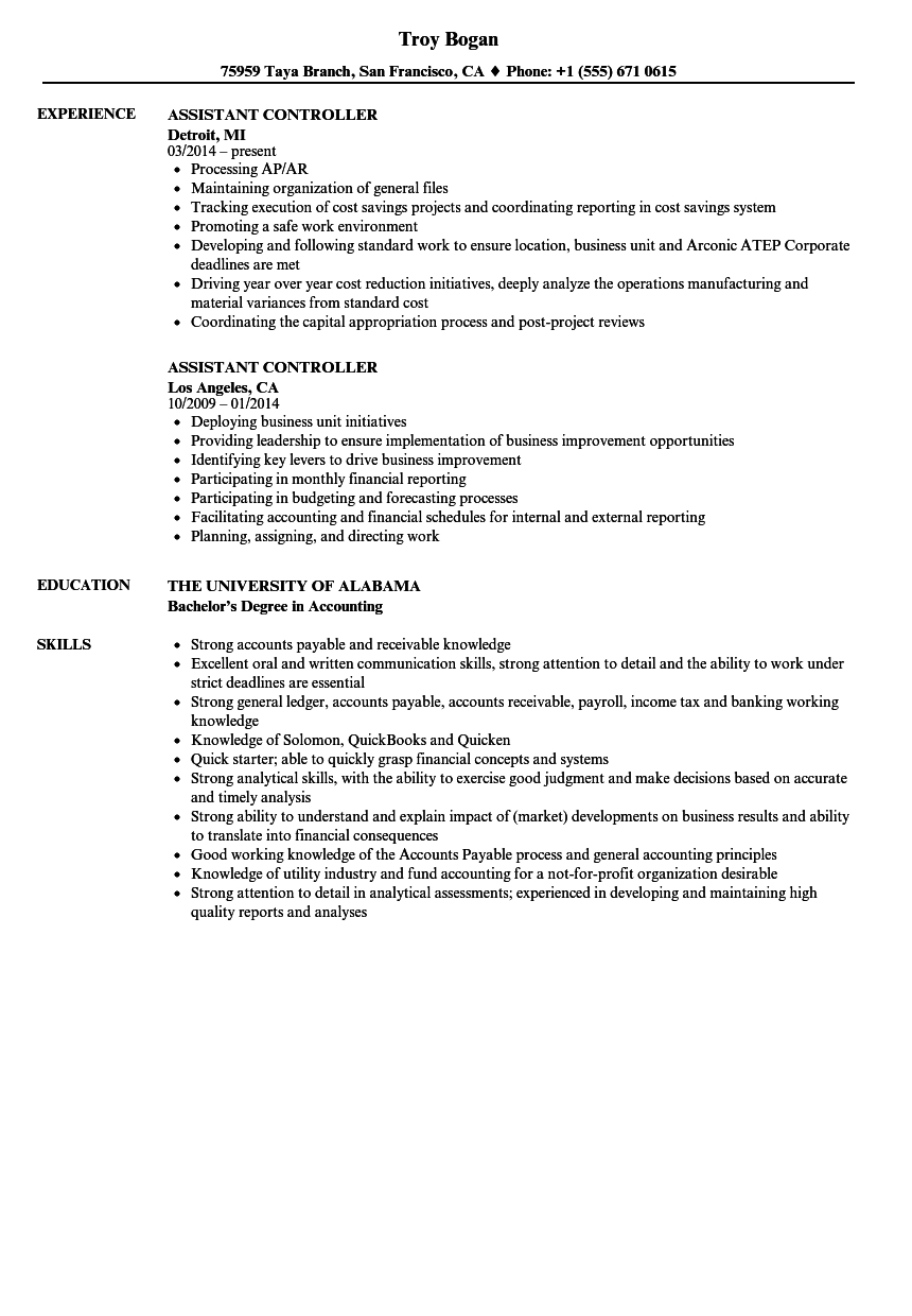 Sample Assistant Controller Resume