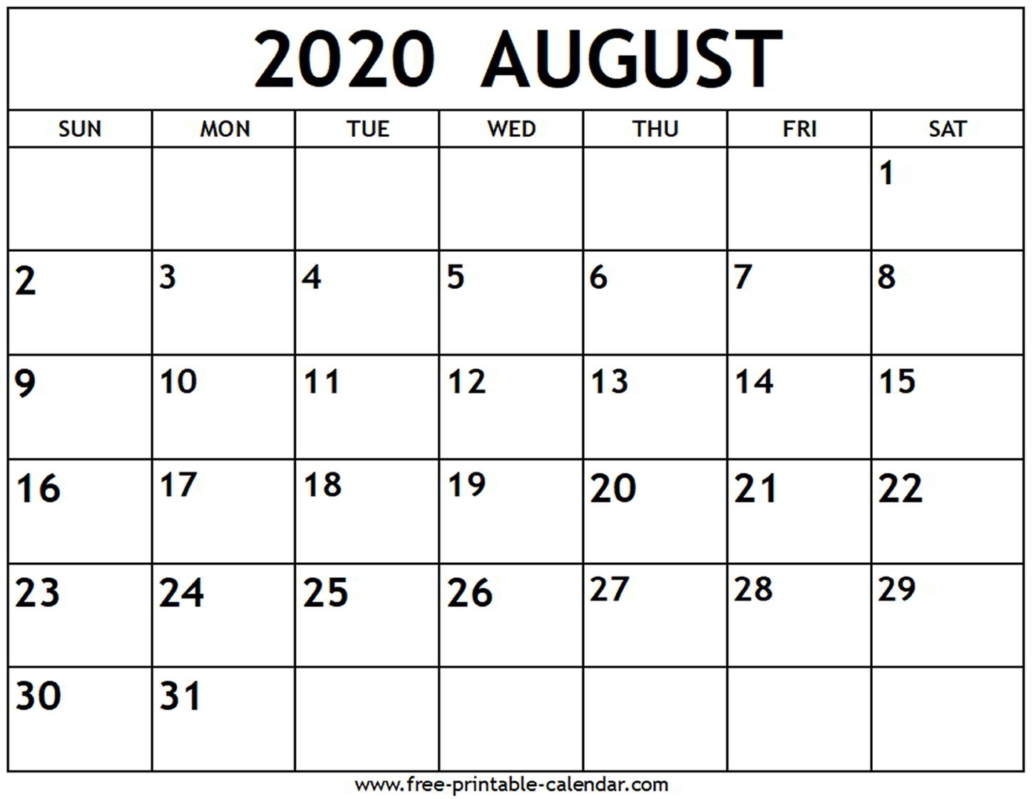 Portrait Calendar May August 2020