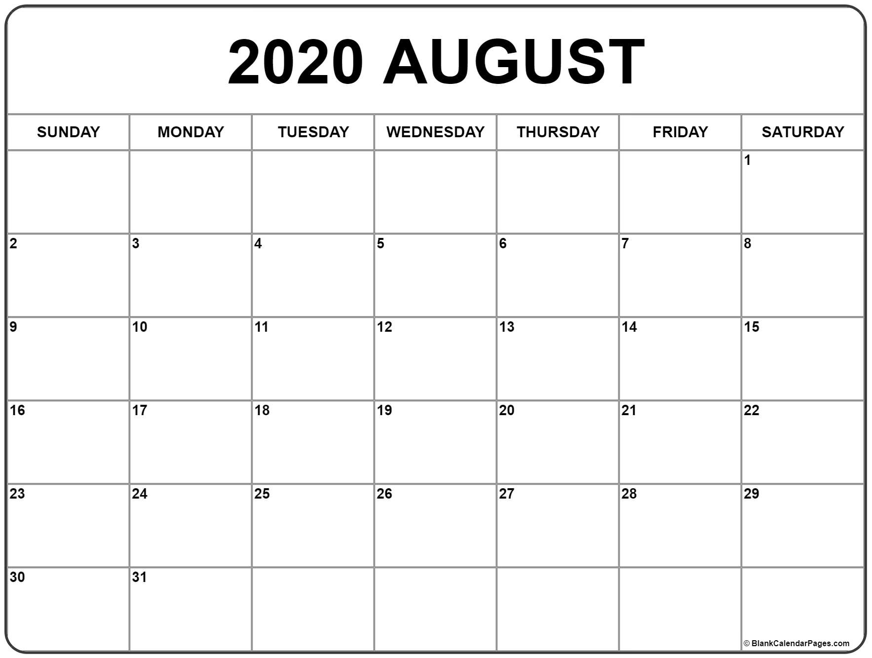August 2020 Calendar With Space Note