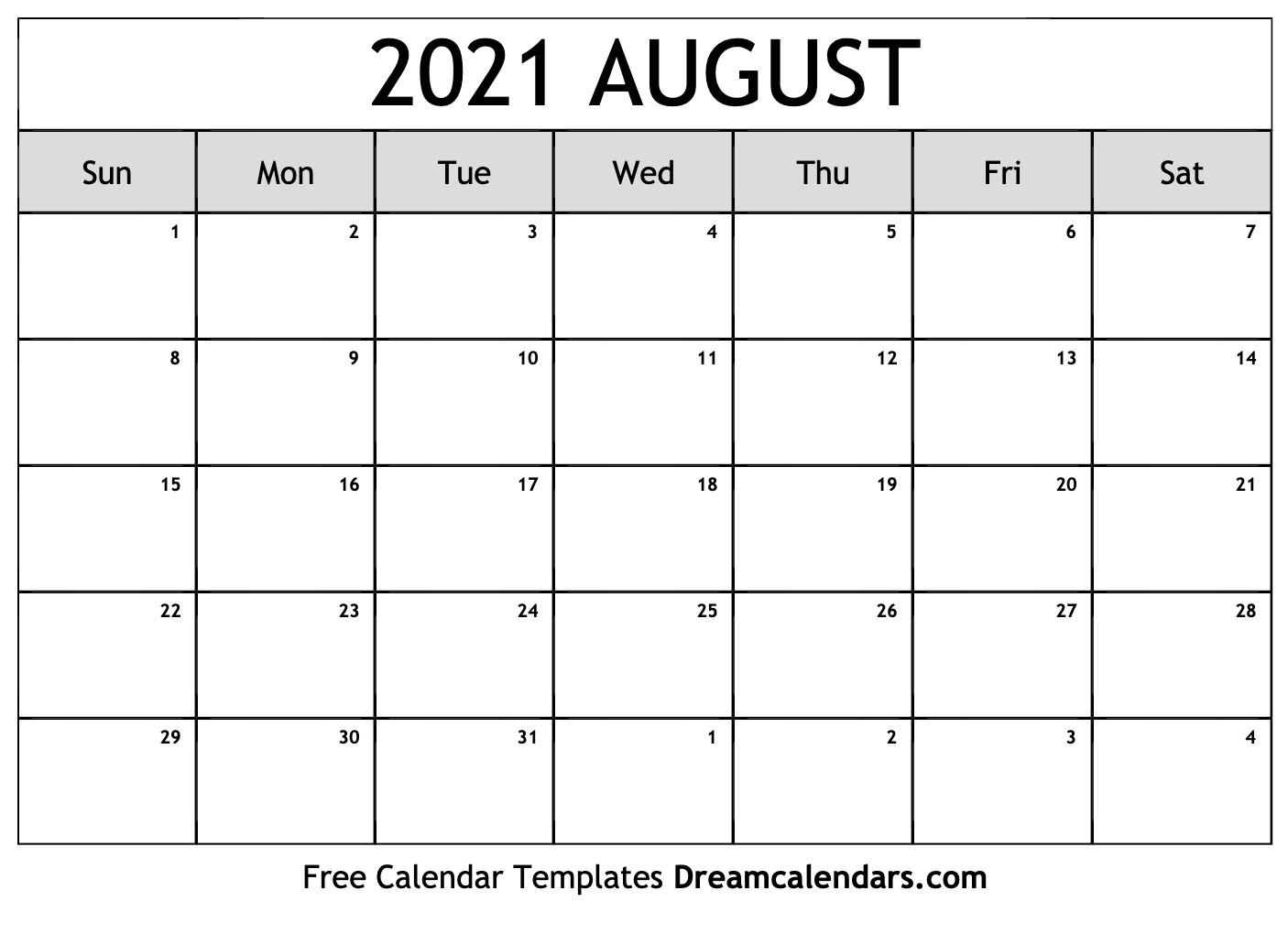 August 2021 Calendar With Note Pdf Word Image