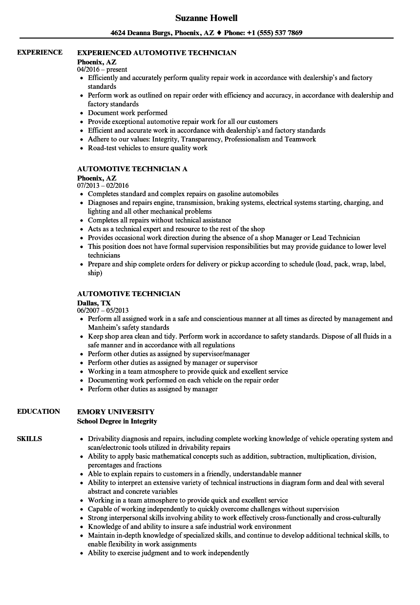 Automotive Technician Resume Samples | Velvet Jobs