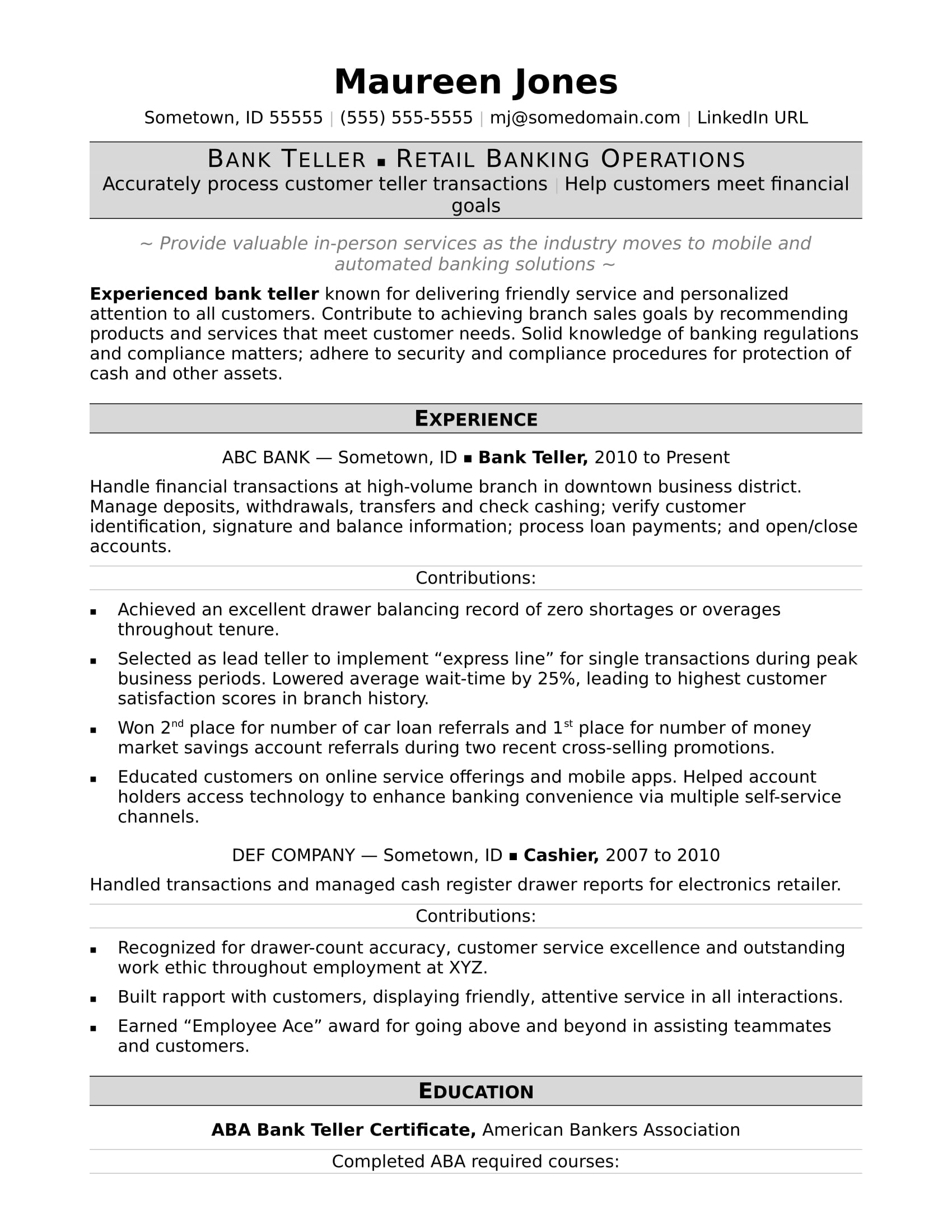 Bank Teller Resume Sample | Monster