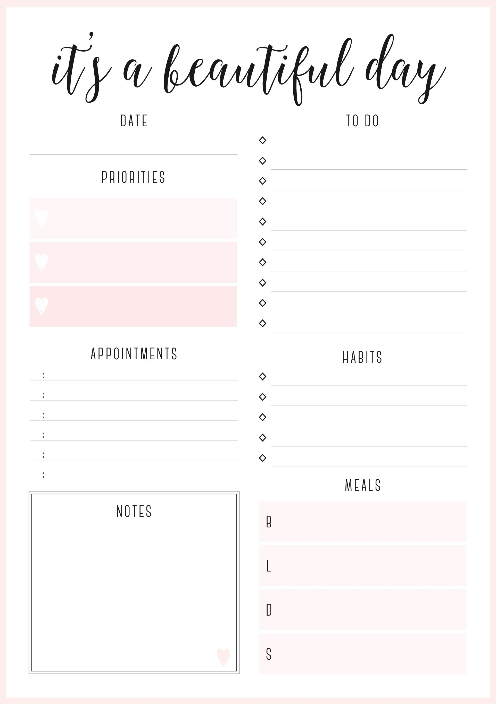 Beautiful Daily Planners – Free Printables | Daily Planner
