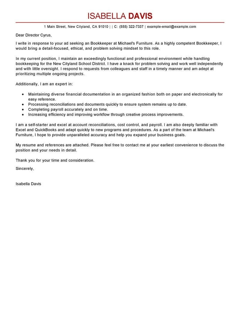 Best Bookkeeper Cover Letter Examples | Livecareer