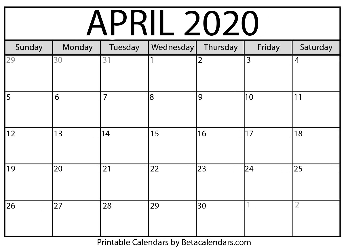 April Calendar 2020 Printable Template Pdf Jpg