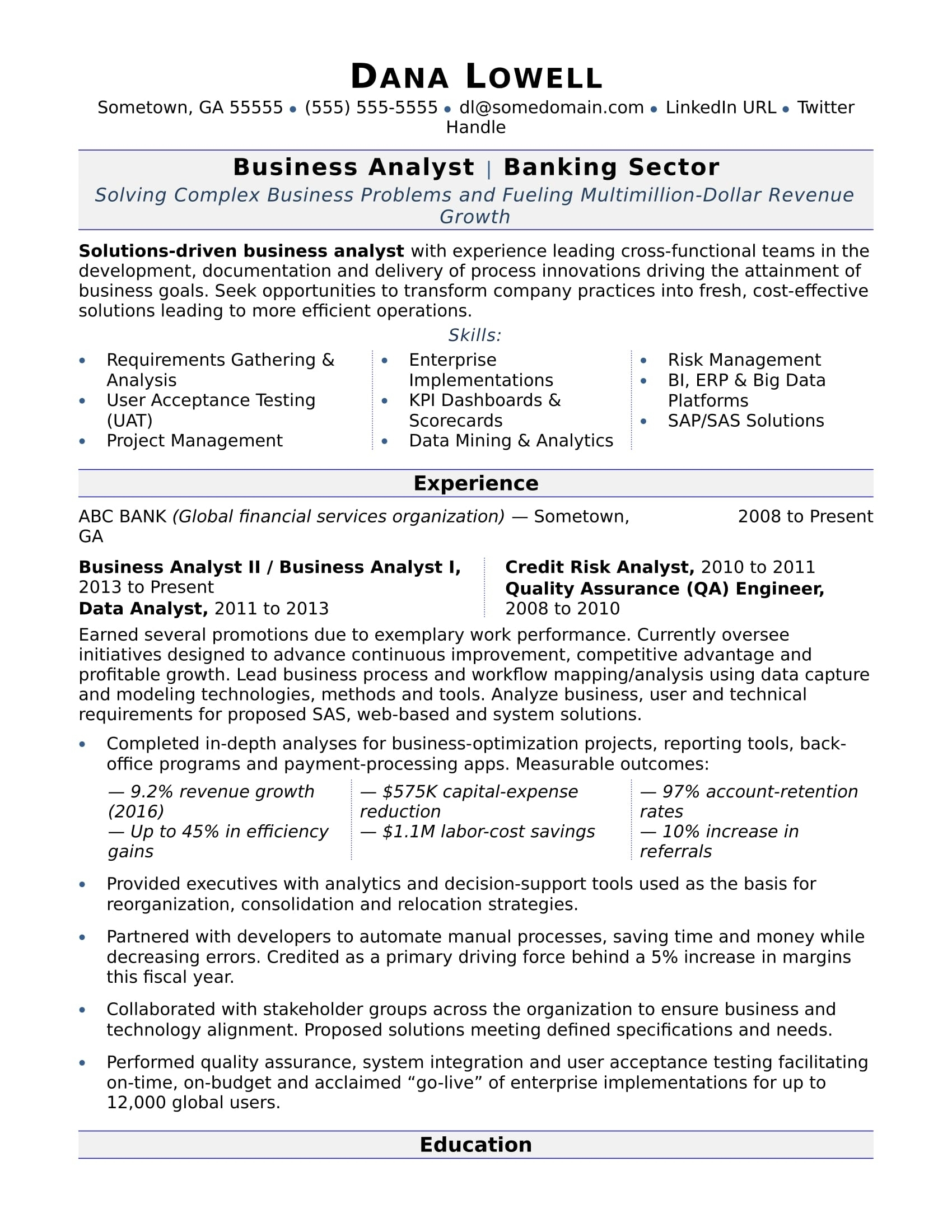 Example Of Business Analyst Resumes
