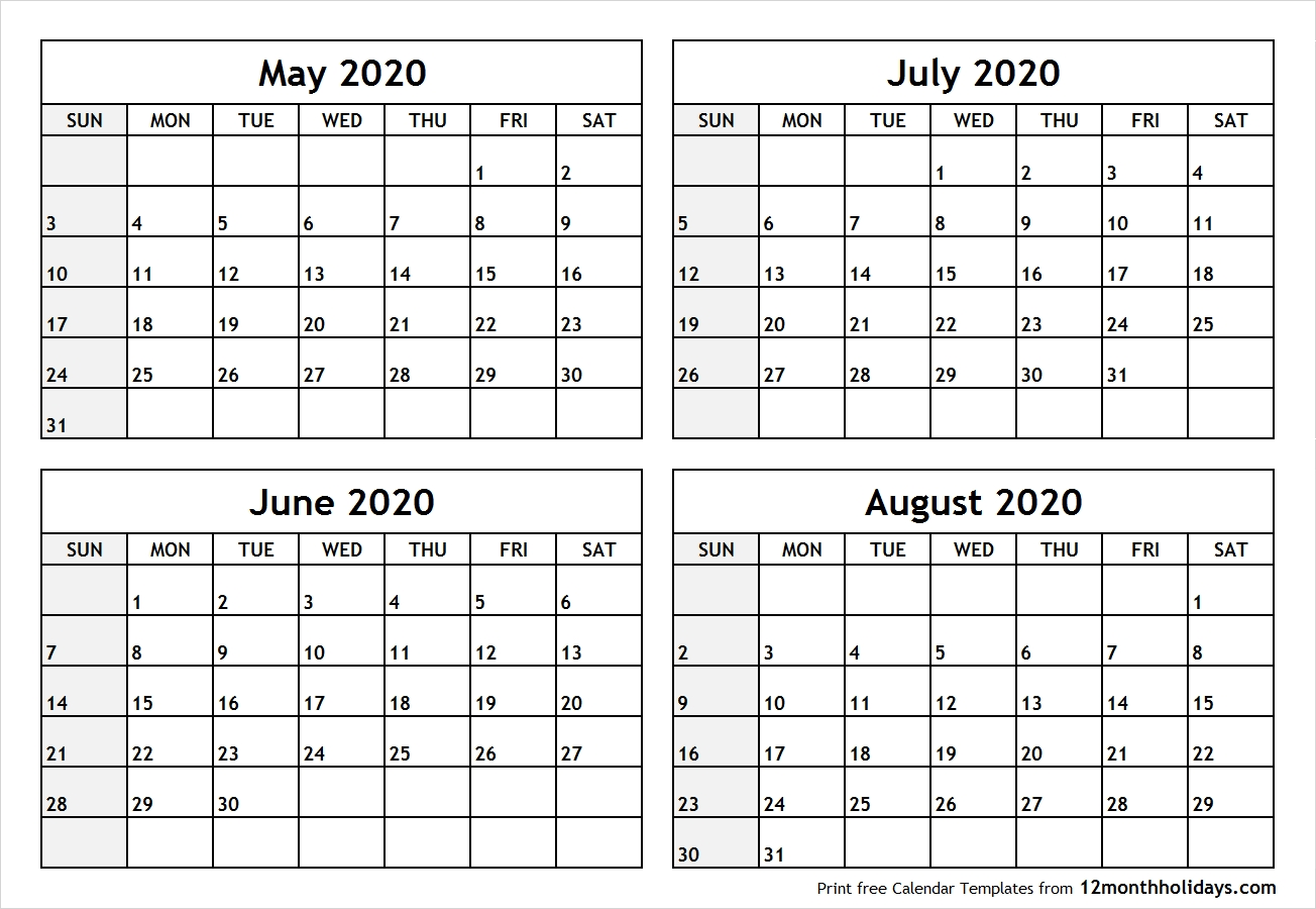 May To August 2020 Printable Calendar