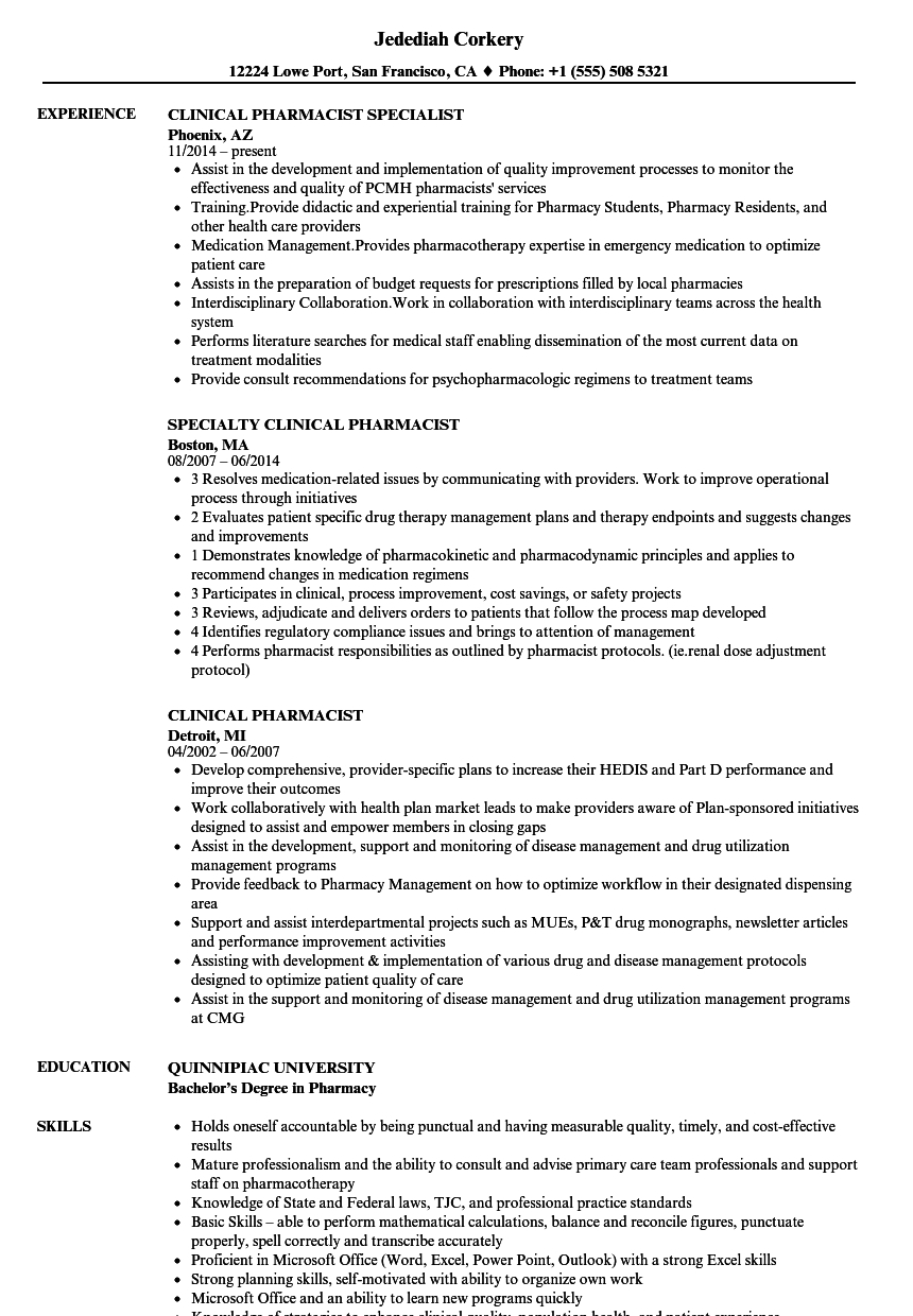 Clinical Pharmacist Resume Avnitasoni