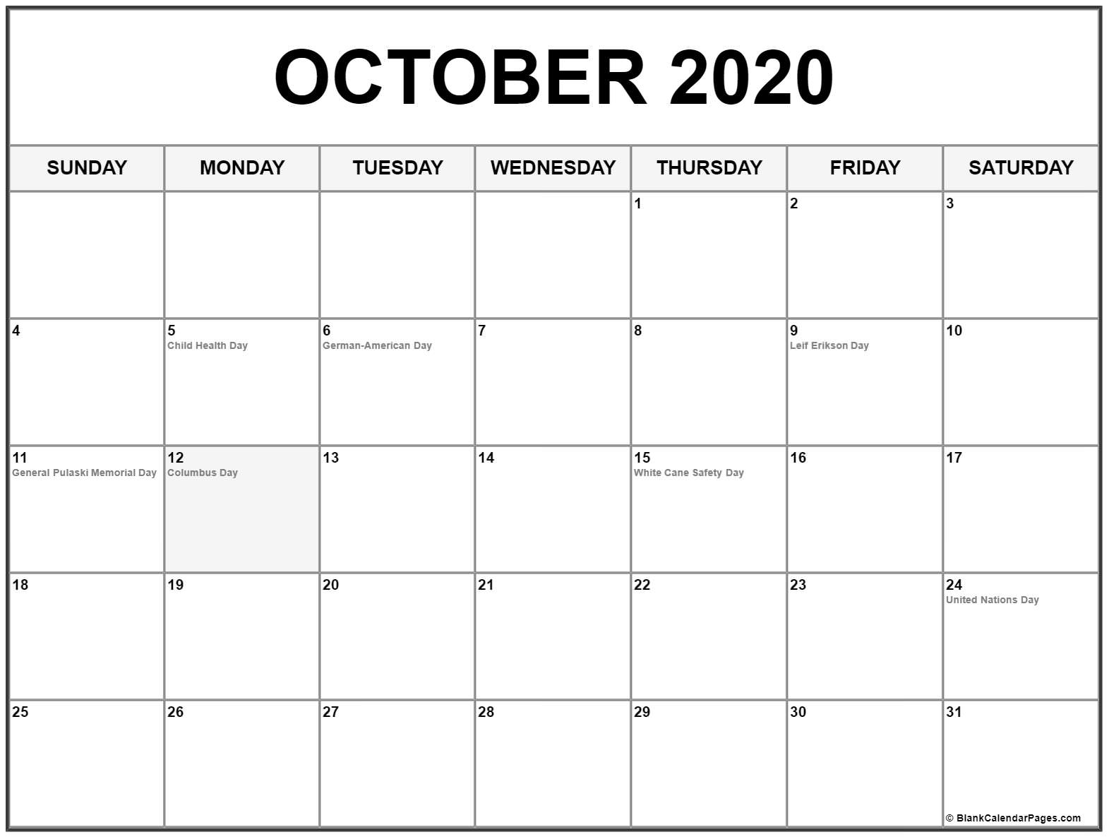 August September And October 2020 Calendar United States