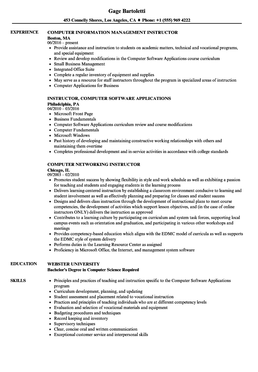 Resume For Computer Trainer