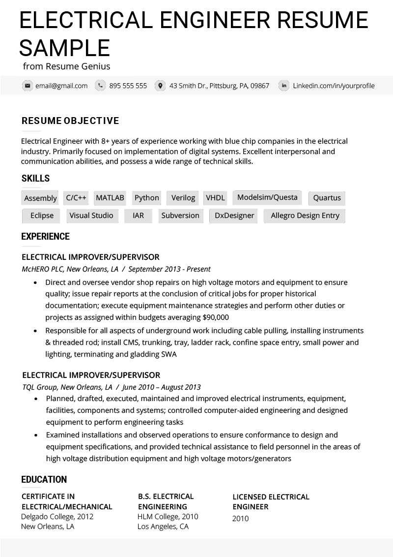 Professional Electrical Engineering Resume