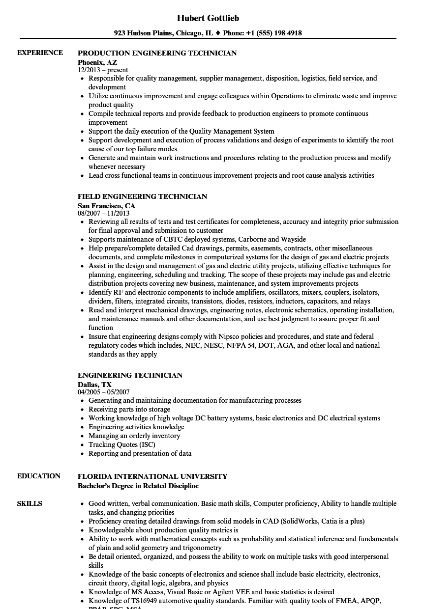 Technician Engineer Resume